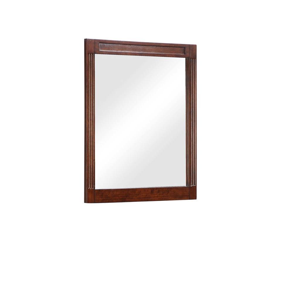 24 in. W x 29 in. H Framed Rectangular Beveled Edge Bathroom Vanity Mirror in Dark Cherry