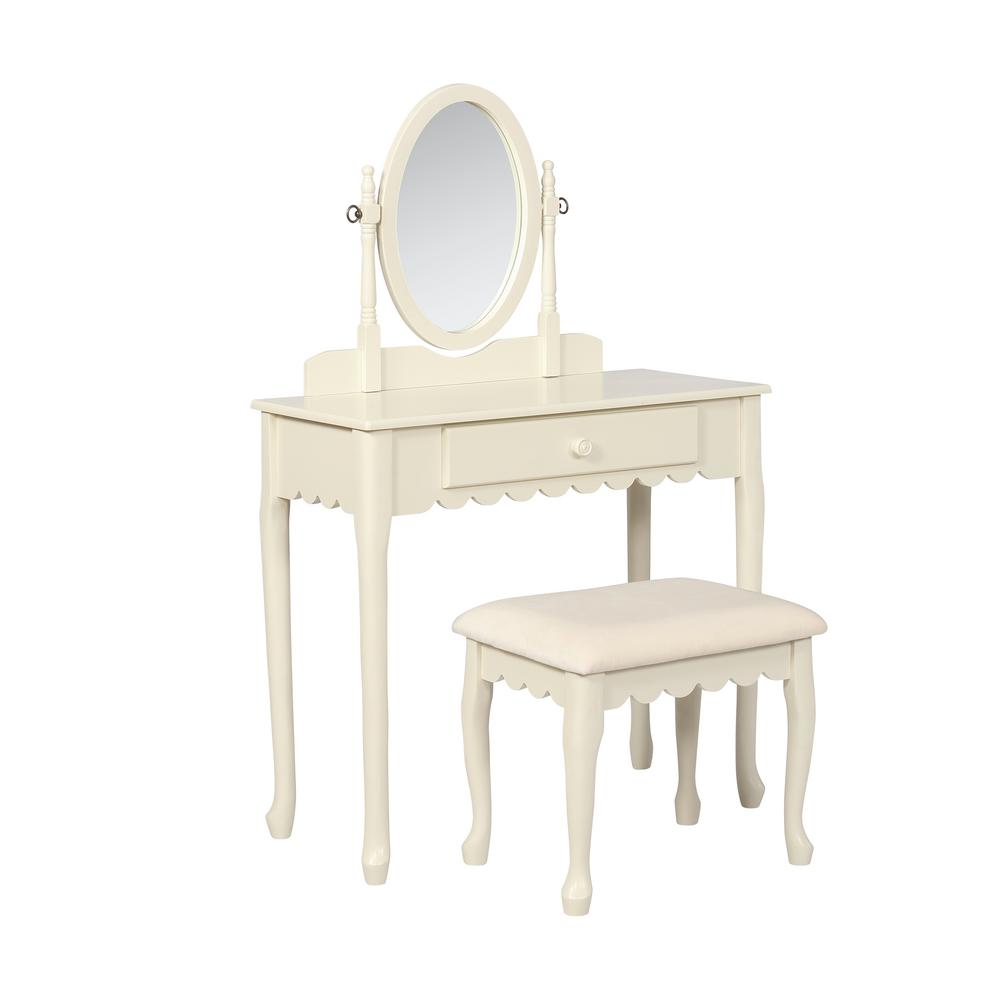Linon Home Decor 2 Piece Ellie White Youth Vanity Set Thd01981 The