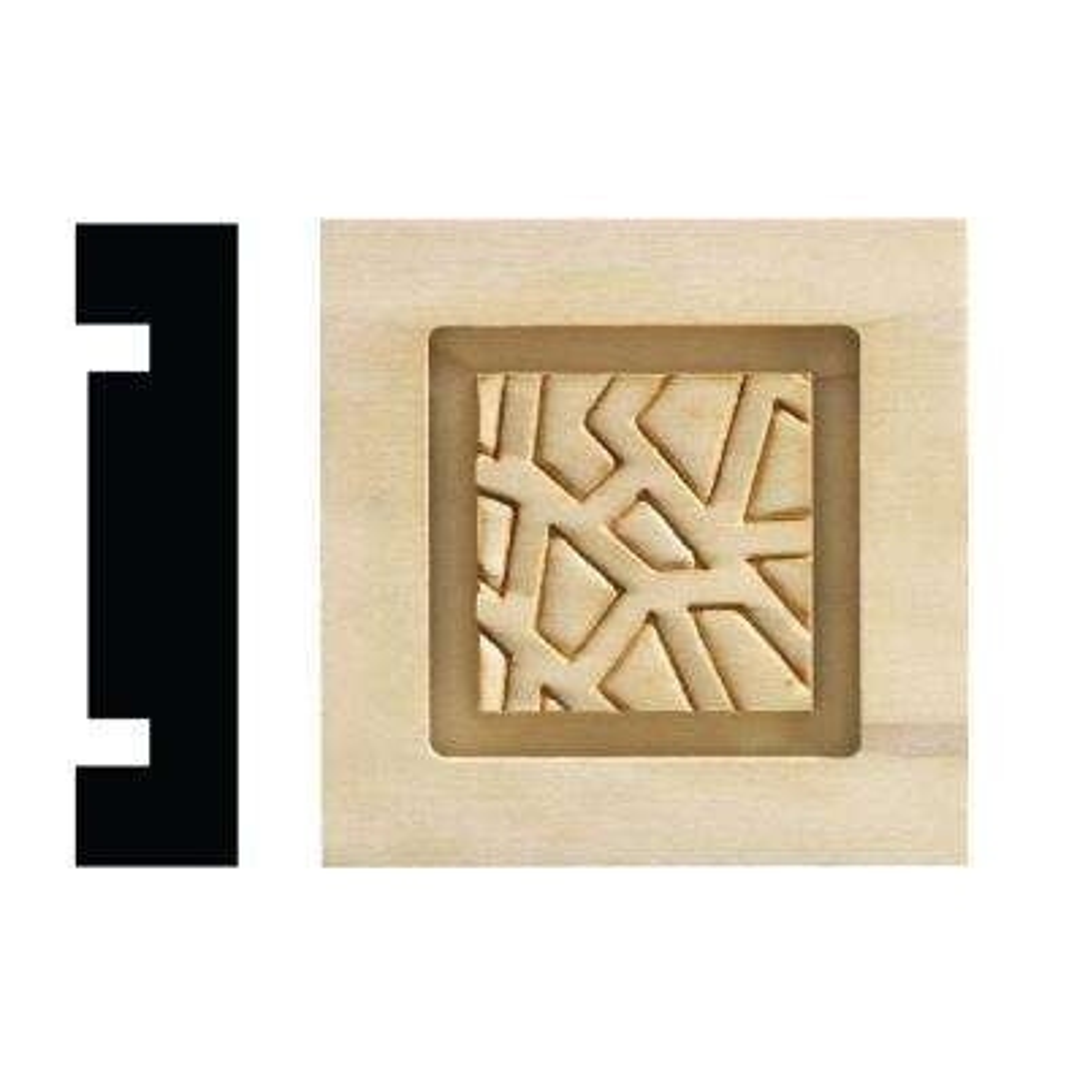 Cracked Ice Collection 13/16 in. x 3-1/4 in. x 3-1/4 in. White Hardwood Casing Door and Window Corner Block Moulding