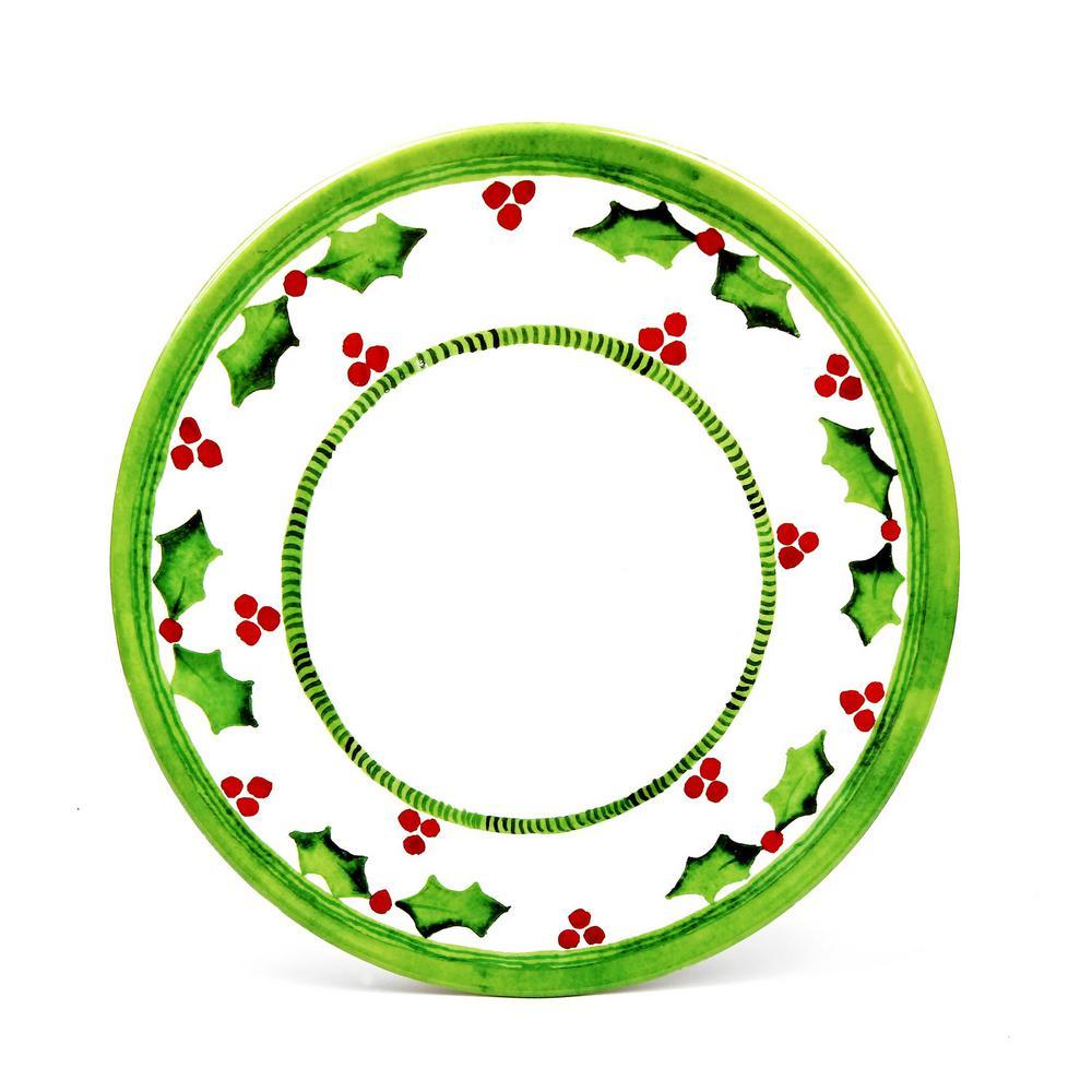 Encore Holly Jolly Green/White Dinner Plate (Set of 4) 10280