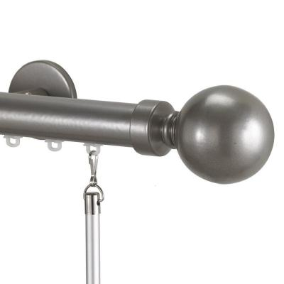 Tekno 25 Non Telescoping 96 in. Traverse Rod in Antique Silver with Ball 28 Finial