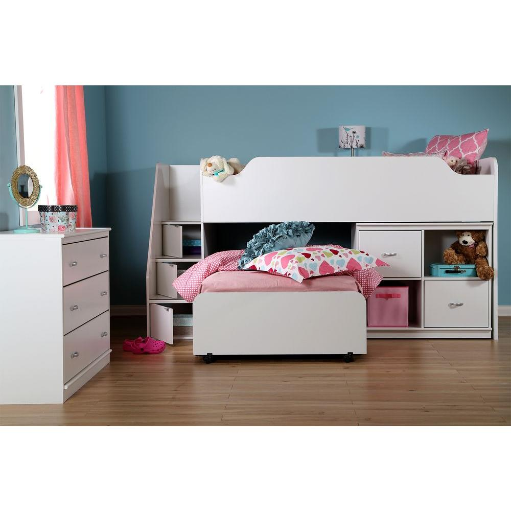 South S Mobby Pure White Twin Size Loft Bed