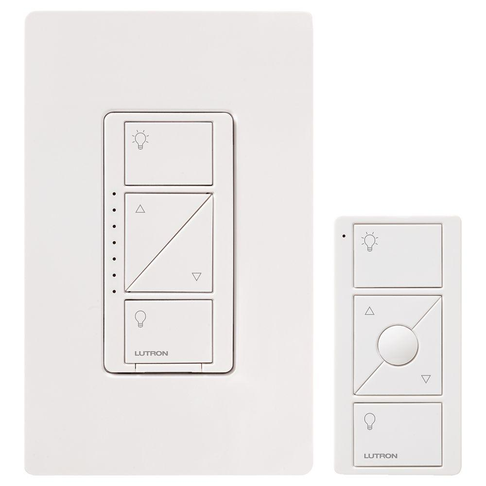 Lutron Wiring Devices Light Controls Electrical The Home Depot Z Wave 3 Way Switch Caseta Wireless Smart Lighting Dimmer And Remote Kit For Wall Ceiling Lights White