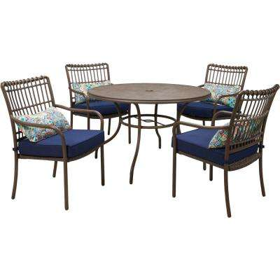 Summerland Faux-Wood 5-Piece Aluminum Round Outdoor Dining Set with Navy Cushions, 4 Stationary Chairs and Table