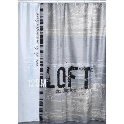 ATELIER LOFT 71 in. W x 79 in. L Gray Polyester Printed Shower Curtain