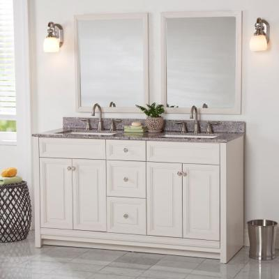 Brinkhill 61 in. W x 22 in. D Bathroom Vanity in Cream with Stone Effect Vanity Top in Mineral Gray with White Sink