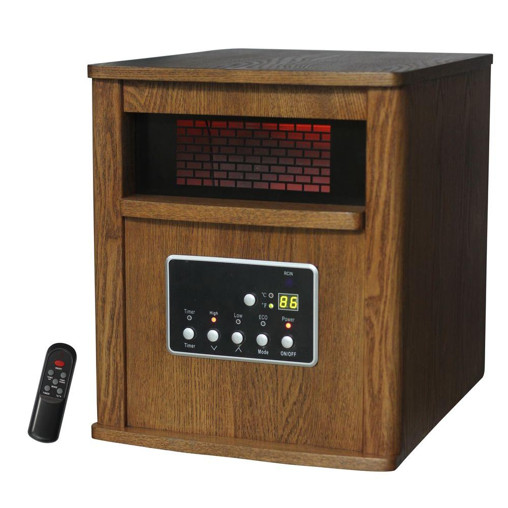 Lifesmart 1500-Watt 6-Element Infrared Bulb Heater with Wood Cabinet and Remote
