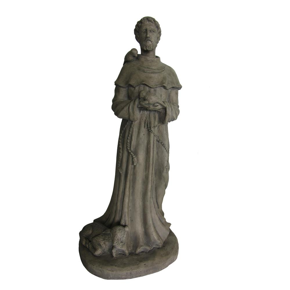 Old Garden Statue: 27 In. H Saint Francis Statue In Old Stone-PF6090OS