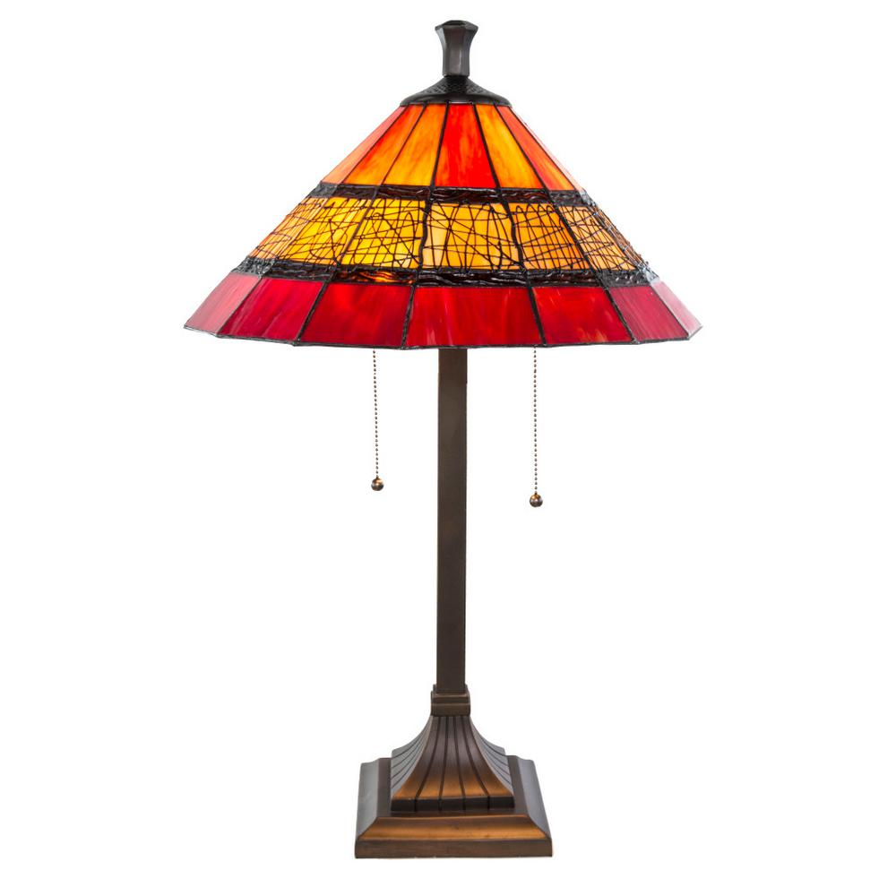 Red Chandelier Table Lamp: River Of Goods 26 In. Red Table Lamp With Craftsman Style