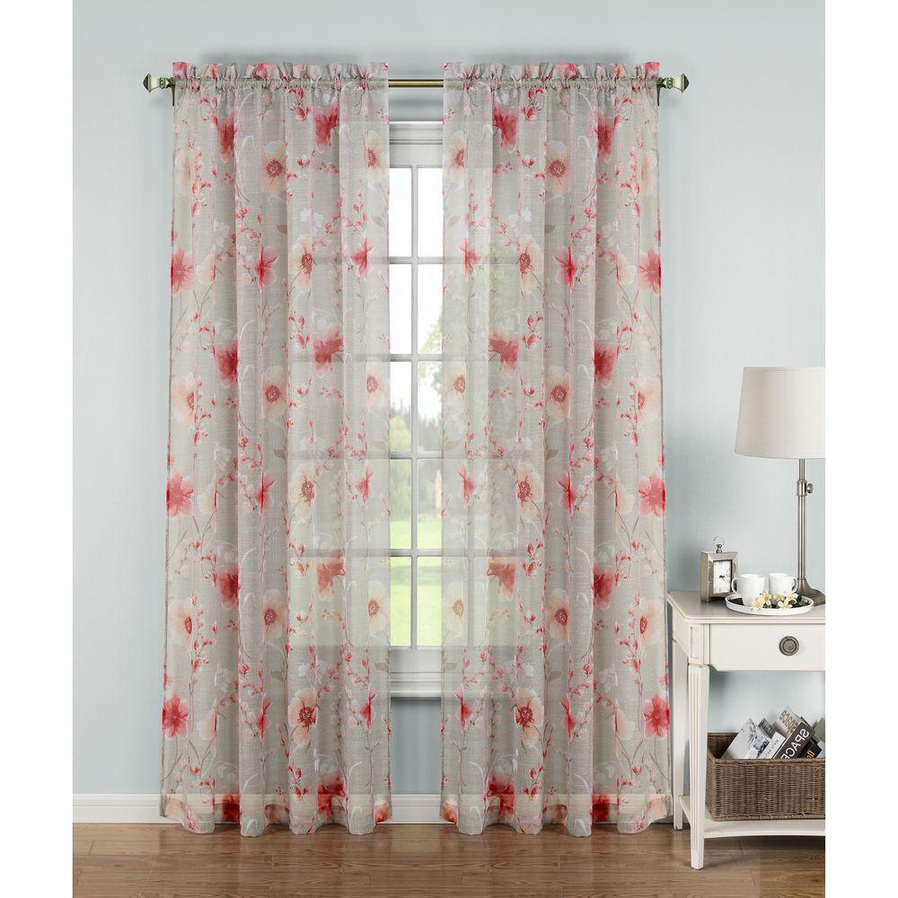 Window Elements Sheer Pamela Printed Sheer Extra Wide 54 in. W x ...