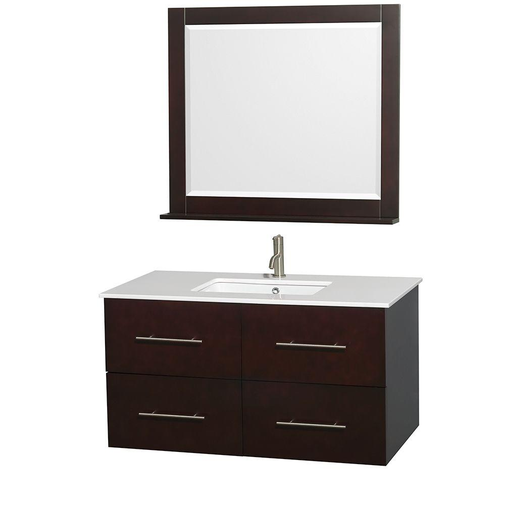 Wyndham Collection Centra 42 in. Vanity in Espresso with Solid-Surface Vanity Top in White, Square Sink and 36 in. Mirror
