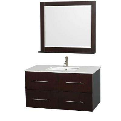 Centra 42 in. Vanity in Espresso with Solid-Surface Vanity Top in White, Square Sink and 36 in. Mirror