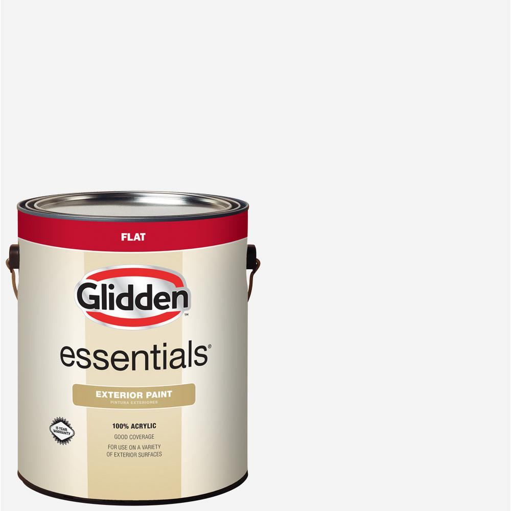 Glidden Essentials 1 Gal White Base 1 Flat Exterior Paint Gle 5011n 01 The Home Depot