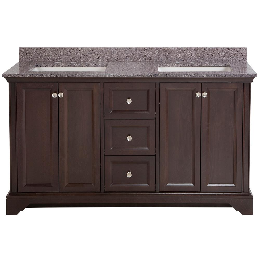 Home Decorators Collection Stratfield 61 in. W x 22 in. D Bath Vanity in Chocolate with Stone Effect Vanity Top in Mineral Gray with White Sink