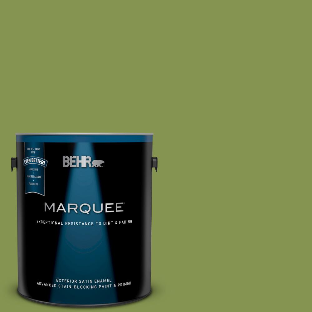 Behr Marquee 1 Gal M360 6 Bold Avocado Satin Enamel Exterior Paint And Primer In One 945301 The Home Depot