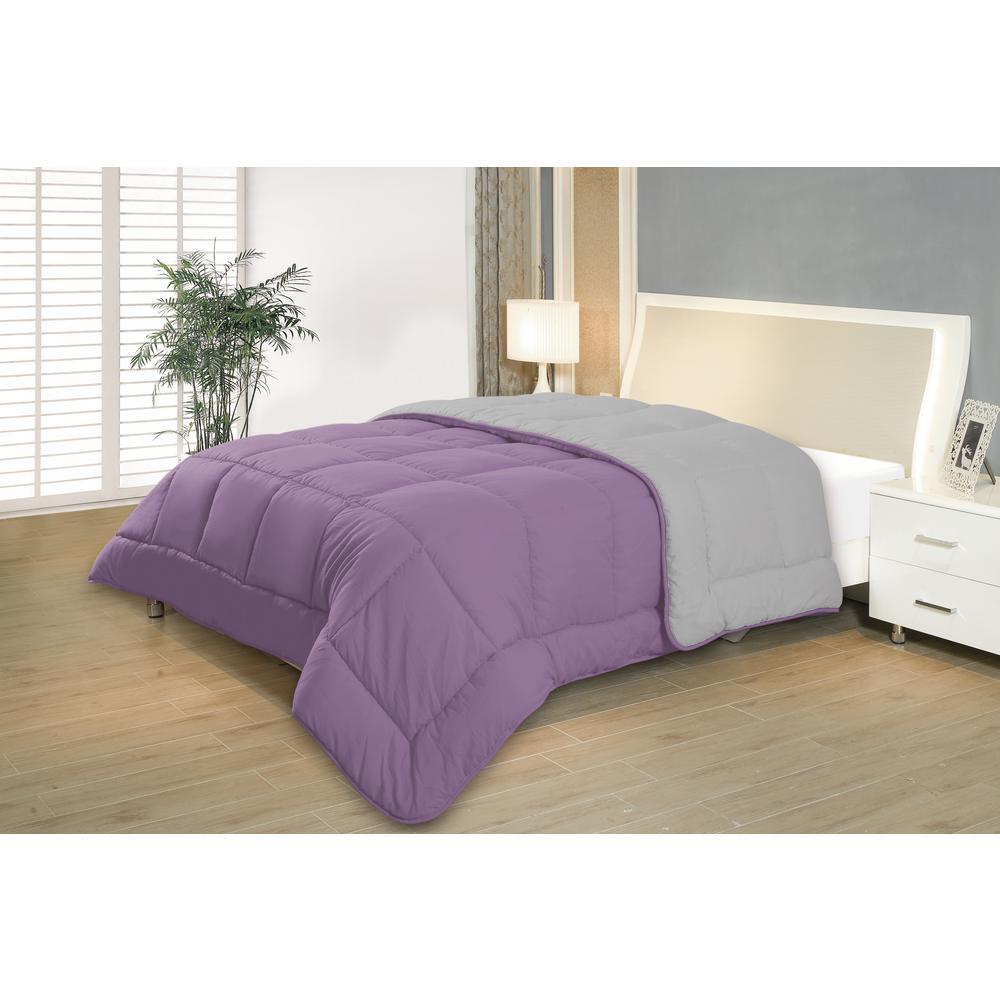 R2zen reversible purple gray full queen down alternative - Home design down alternative comforter ...