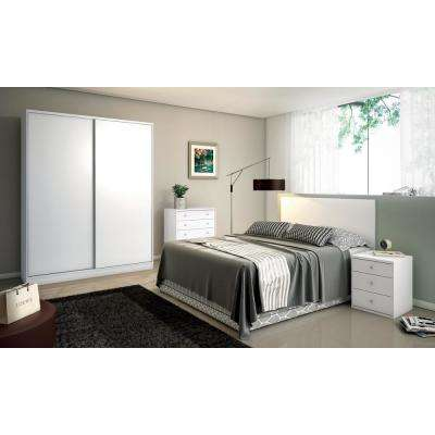 Chelsea 2.0 - 70.07 in. W White Full Armoire with 3 Drawers and 2 Sliding Doors