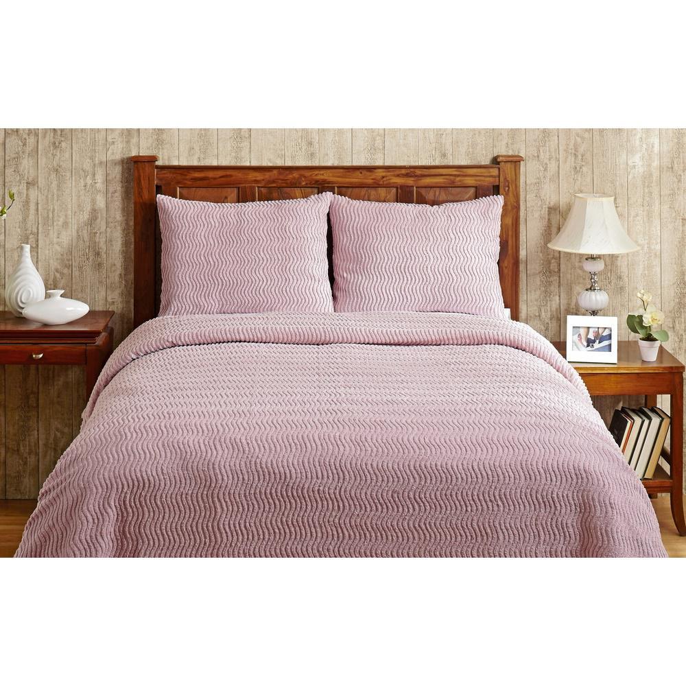 Better Trends Natick Chenille 1-Piece Pink Queen Bedspread SS-BSNAQUPI
