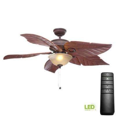 Costa Mesa 56 in. LED Mediterranean Bronze Ceiling Fan with Light Kit and Remote Control