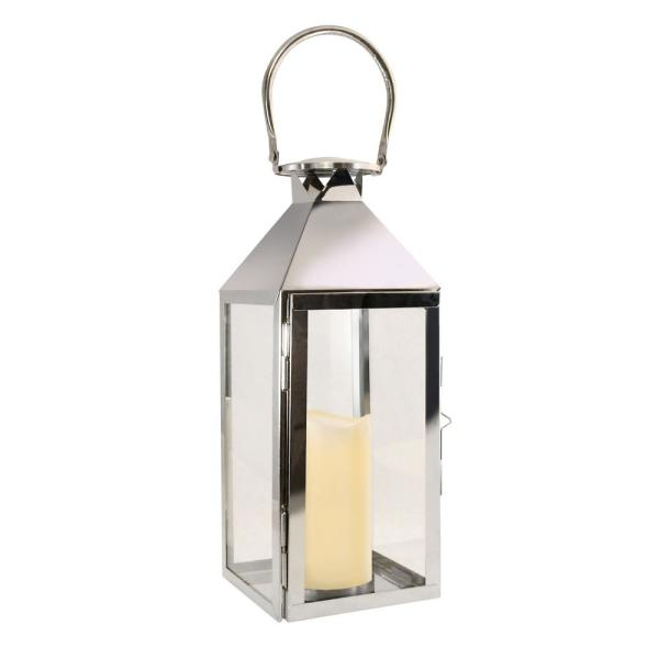 15 in. Chrome Metal Lantern with LED Candle