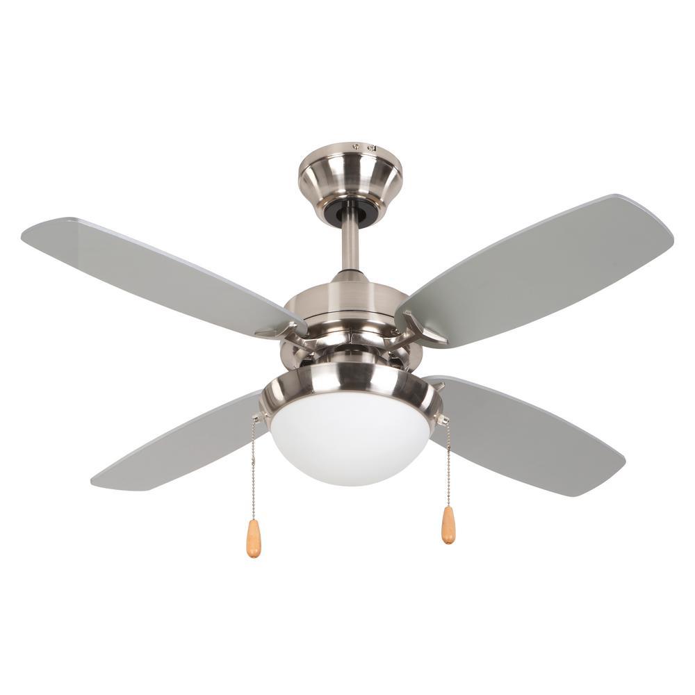 Ashley 36 in. Bright Brushed Nickel Ceiling Fan