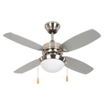 Ashley 36 in. Bright Brushed Nickel Ceiling Fan