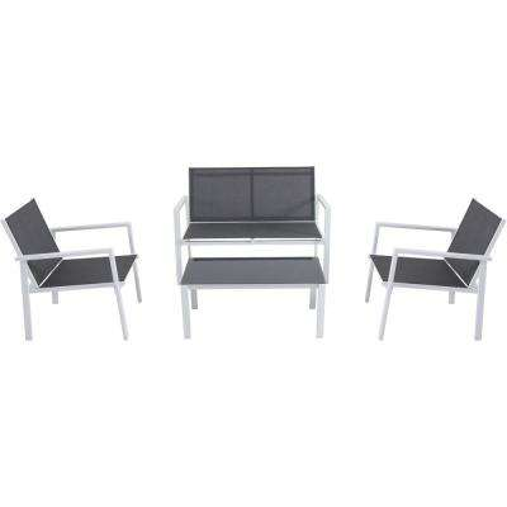 Naples 4-Piece Aluminum Patio Conversation Set in Gray