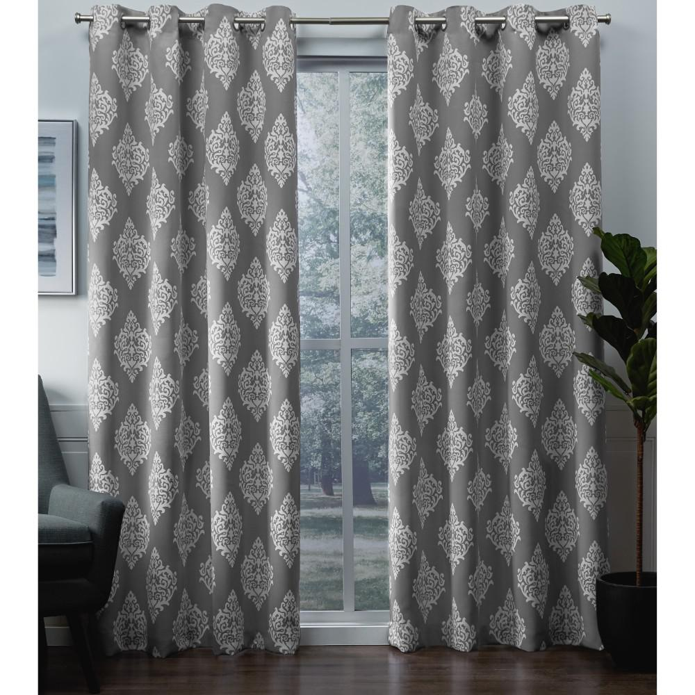 Exclusive Home Curtains Medallion 52 in. W x 96 in. L Woven Blackout Grommet Top Curtain Panel in Silver (2 Panels)