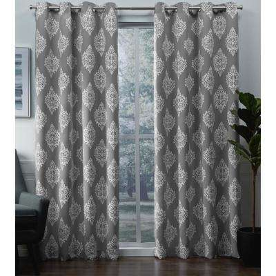 Medallion 52 in. W x 96 in. L Woven Blackout Grommet Top Curtain Panel in Silver (2 Panels)