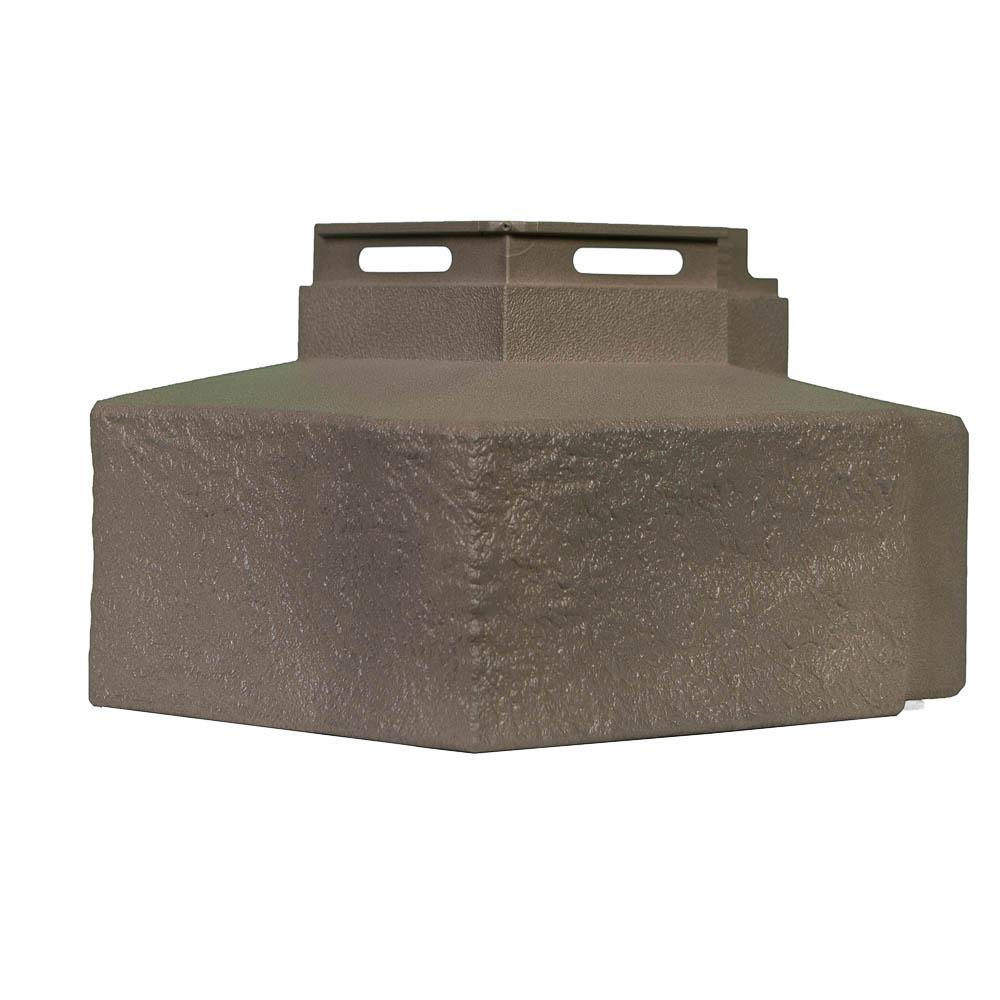 5 in. D x 5.6 in. W x 4.13 in. L Weathered Blend Trim Premium Ledge Corner Trim Siding (4-Corners/Box)