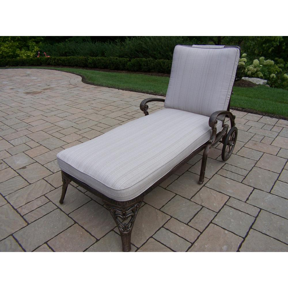 Mississippi Antique Bronze Aluminum Patio Chaise Lounge with Tan Cushions