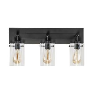 Brooklyn 21 in. 3-Light Espresso Vanity Light with Clear Glass Shades