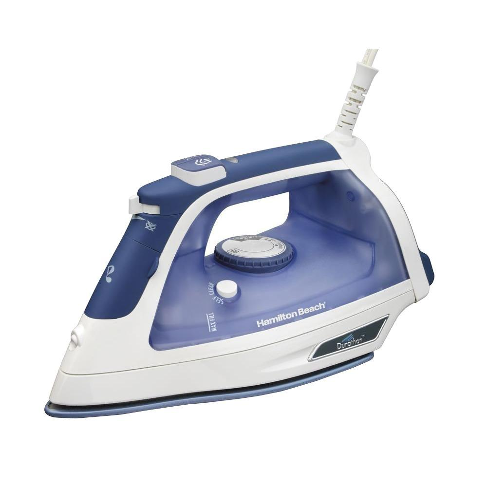 Steam Iron, White/Blue With incomparable steam output and a nonstick soleplate that is ten times more durable than traditional nonstick, you can't go wrong with a Durathon iron at your side. It simply outperforms and outlasts most irons on the market—period. Durathon irons offer you more continuous steam for superior wrinkle removal as well as superior glide performance. With exceptional iron features like these, you might imagine finishing all your ironing projects with superhuman speed. You'll certainly have the stamina to stick with them ten times longer. Color: White/Blue.