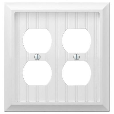 Cottage 2 Gang Duplex Composite Wall Plate - White