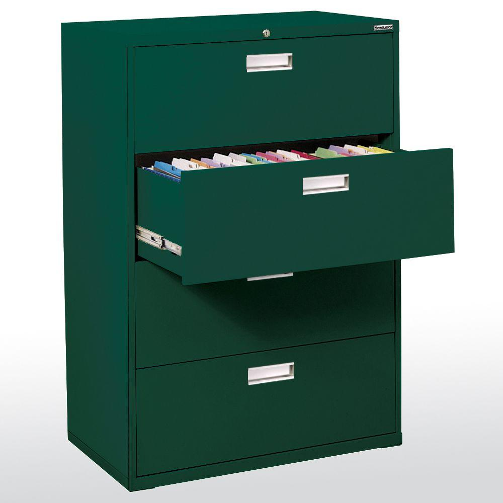 600 Series 36 in. W 4-Drawer Lateral File Cabinet in Forest