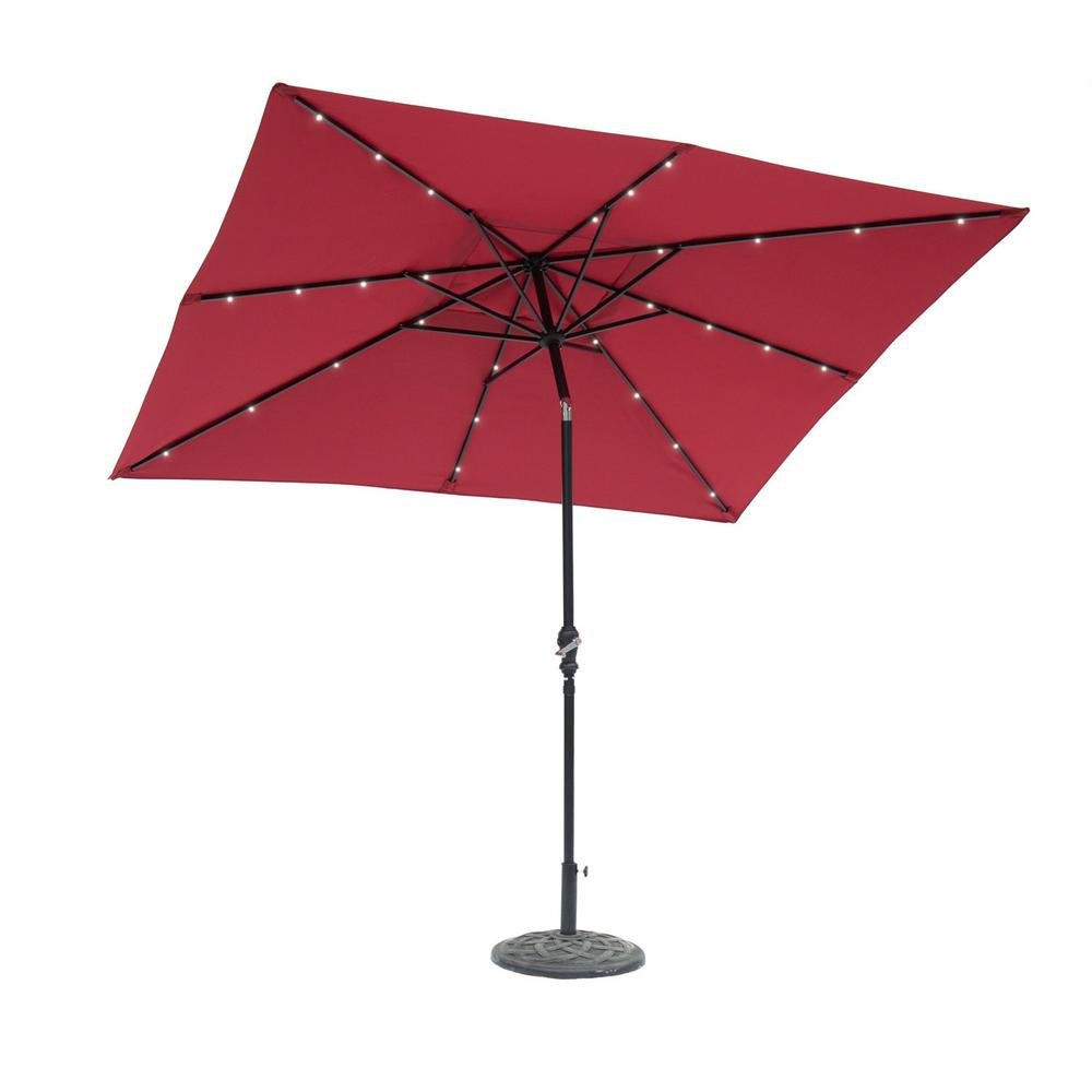 SunRay 9 Ft. X 7 Ft. Rectangular Solar Lighted Market Patio Umbrella In  Scarlet