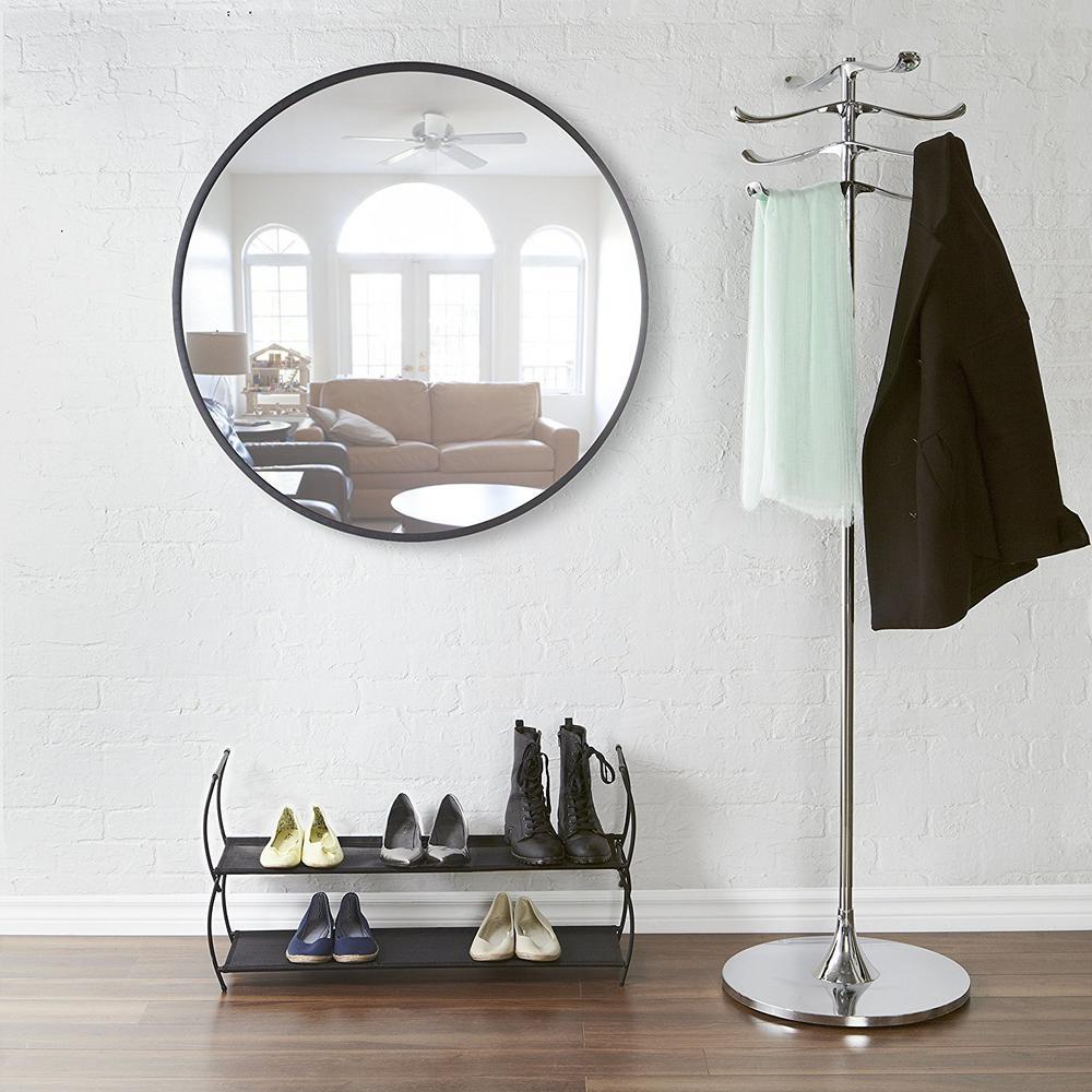 37 in. Black Hub Wall Mirror