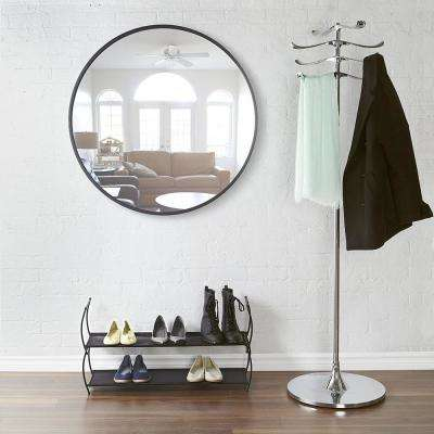 37 in. Black Hub Wall Mirror