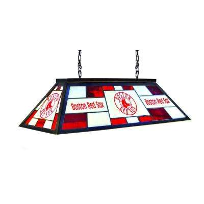 3-Light Black Boston Red Sox Stained Glass Billiard Lamp