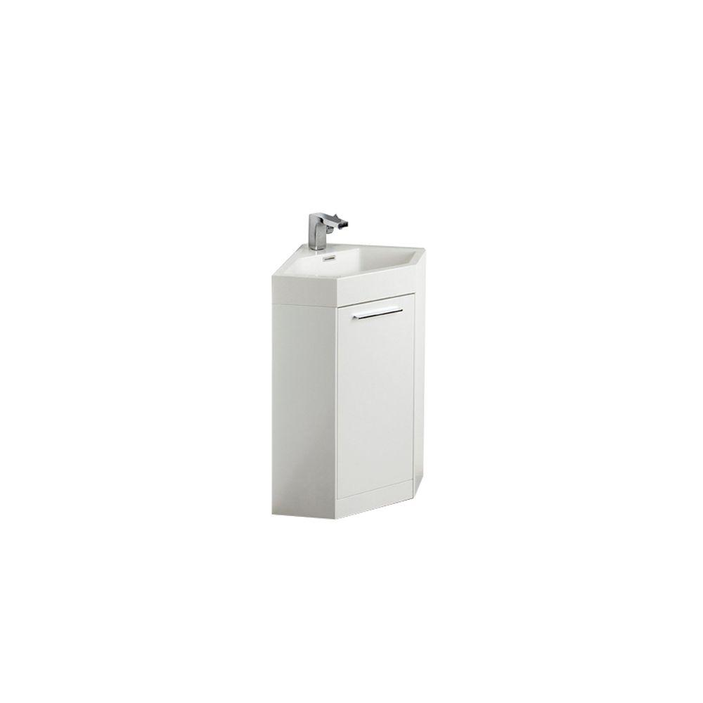 Fresca Coda 18 in. W Vanity in White with Acrylic Vanity Top in White