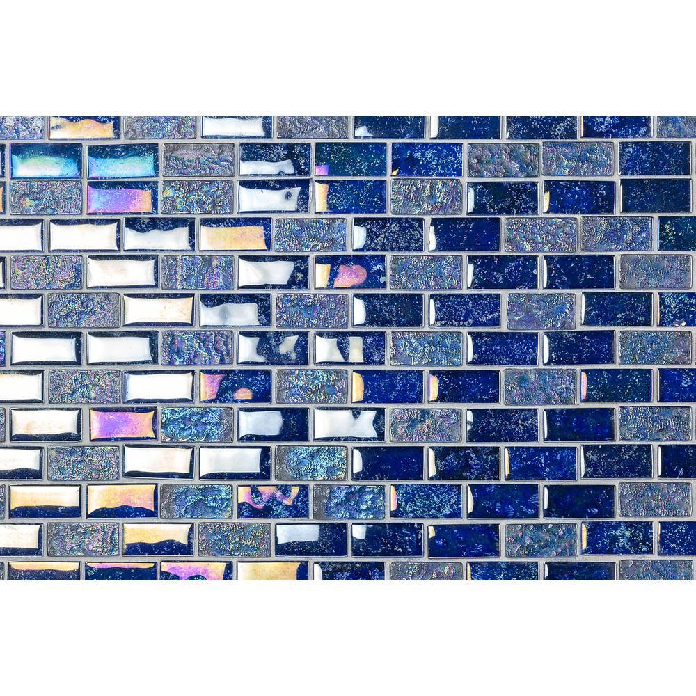 Marina Iridescent Indigo Brick 11 3/4 in. x 11 3/4 in. 8 mm Polished Glass Mesh-Mounted Mosaic Tile