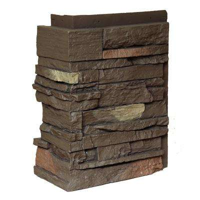 Country Ledgestone Himalayan Brown 10.25 in. x 3.5 in. Faux Stone Siding Corner (4-Pack)