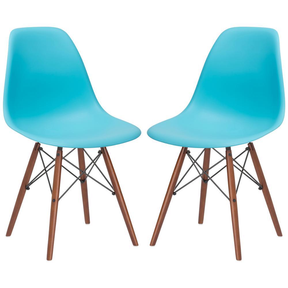 Vortex Aqua Side Chair Walnut Legs (Set of 2)