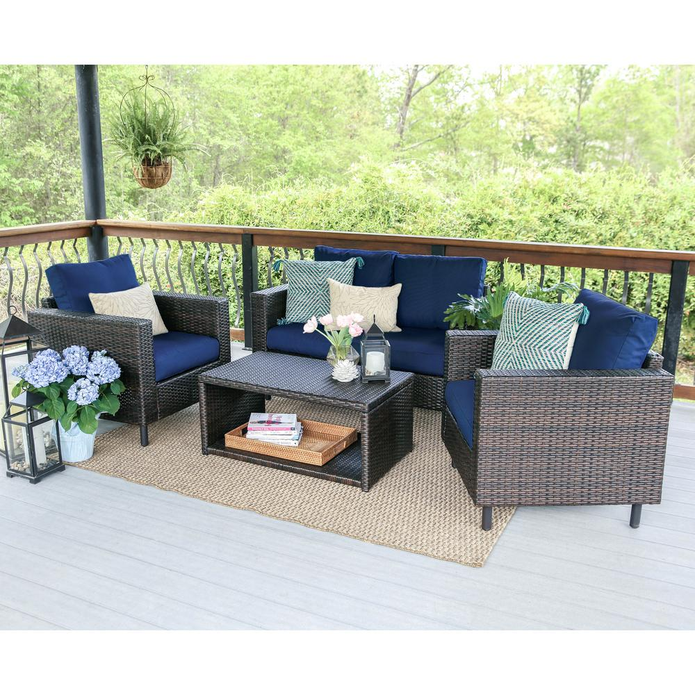 Draper 4 Piece Wicker Outdoor Conversation Set With Navy Cushions