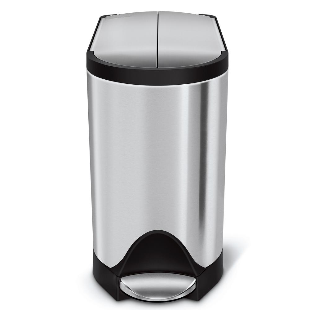 10-Liter Fingerprint-Proof Brushed Stainless Steel Butterfly Step-On Trash Can