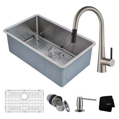 Handmade All-in-One Undermount Stainless Steel 30 in. Single Bowl Kitchen Sink with Faucet in Stainless Steel