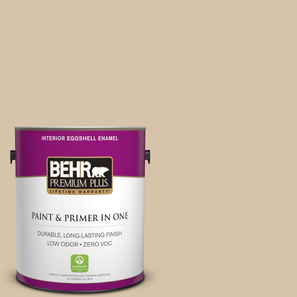 BEHR Premium Plus 1-gal. #ICC-60 Brown Bread Zero VOC Eggshell Enamel Interior Paint