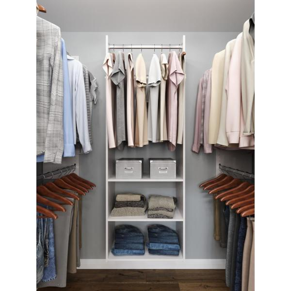 Hanging Starter 25 in. W White Wood Closet Tower System