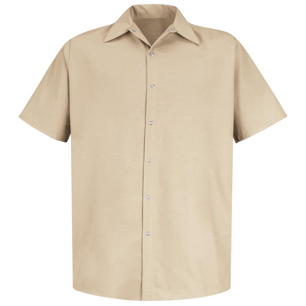 Men's Size 4XL Light Tan Specialized Pocketless Work Shirt