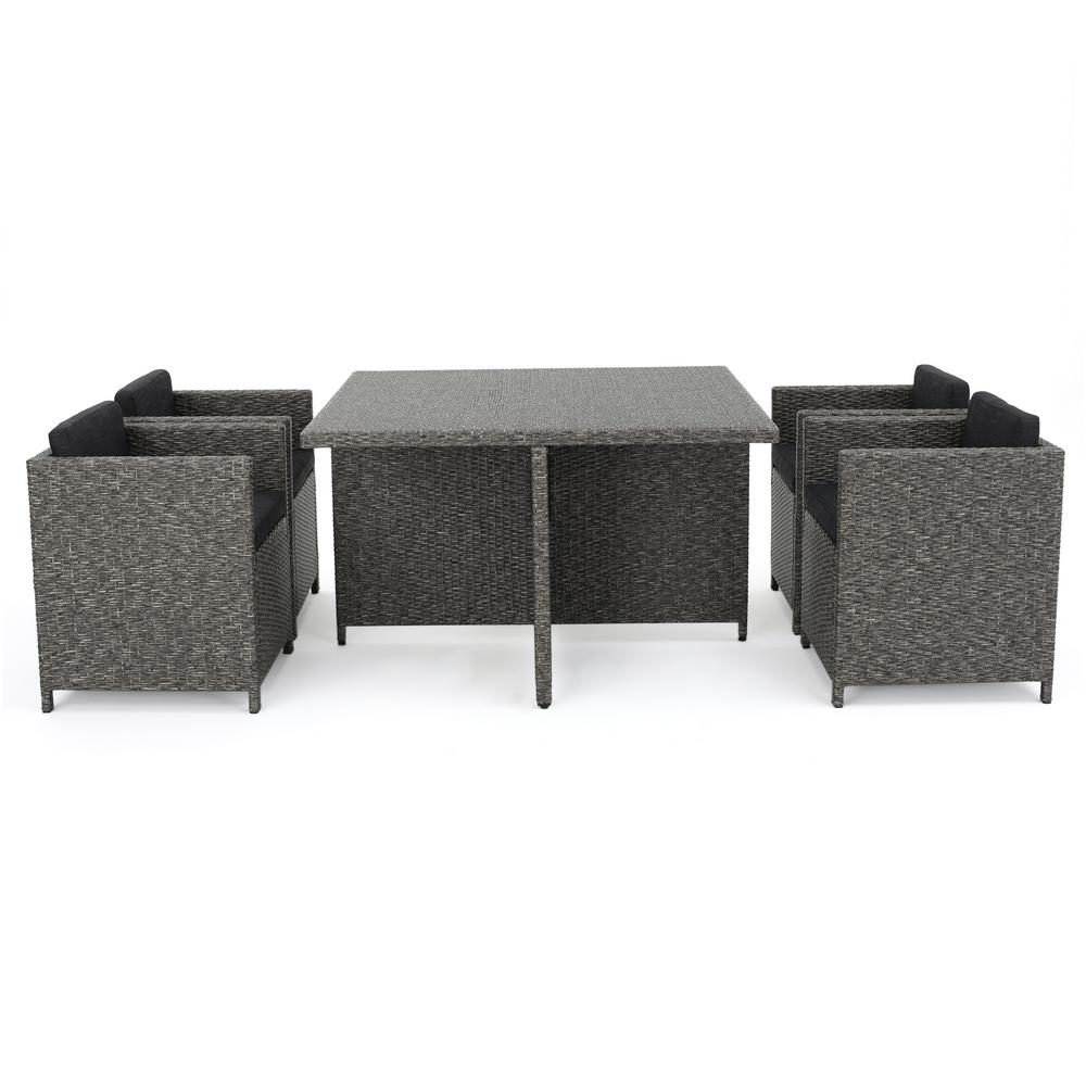Noble House Puerta Grey 5-Piece Wicker Square Outdoor Dining Set with Black Cushions